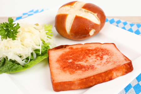 roasted meat loaf with coleslaw on a plate 스톡 콘텐츠