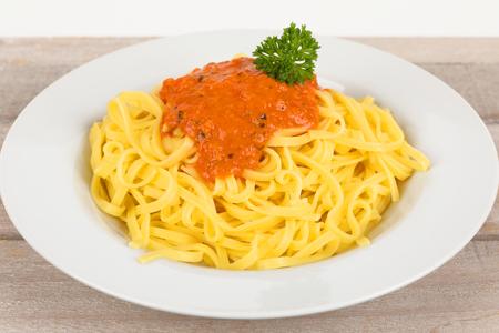 Italian fettuccine with tomato sauce