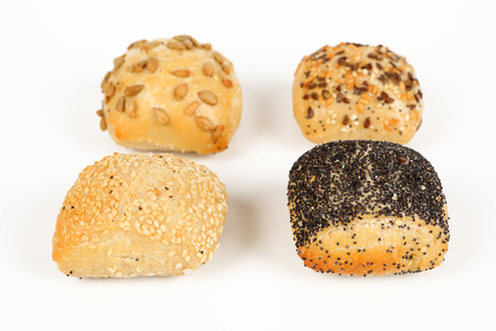 different mini rolls with white background