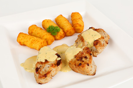 pork fillet with potato croquettes and mustard sauce Stok Fotoğraf - 97391299