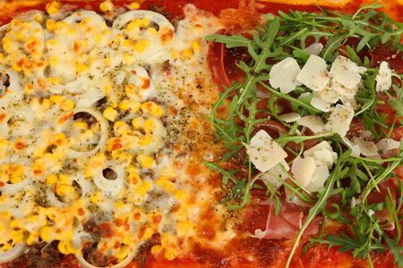 a large family pizza with mixed toppings Stok Fotoğraf - 97403823