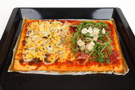 a large family pizza with mixed toppings Stok Fotoğraf - 97403827