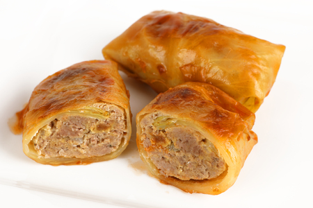 A cabbage roulade filled with minced meat