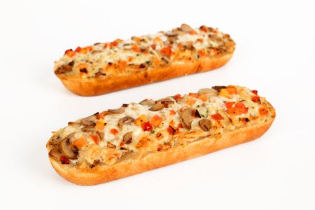 Pizza baguette with mushrooms on whithe background