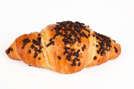Croissant filled with chocolate on a white background