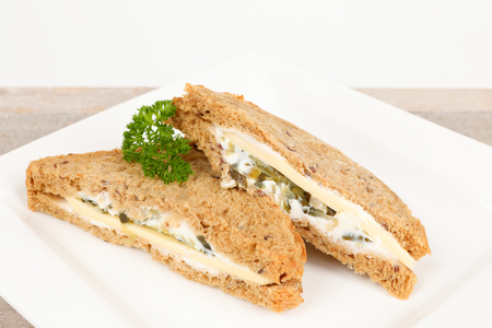 multigrain sandwich with cheese on a plate Stok Fotoğraf - 99749057