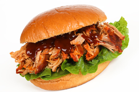 A burger with pulled pork and white background Stok Fotoğraf - 100434896