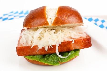baked meat loaf in a pretzel roll Stok Fotoğraf - 102249965