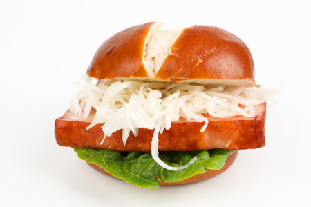 meat loaf in a pretzel roll with coleslaw Stok Fotoğraf