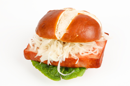 meat loaf in a pretzel roll with coleslaw Stok Fotoğraf
