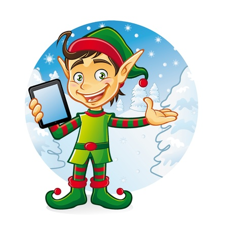 Cartoon young elf is holding ipad with a friendly smile as if to welcome us with a background of snow and pine trees in winter