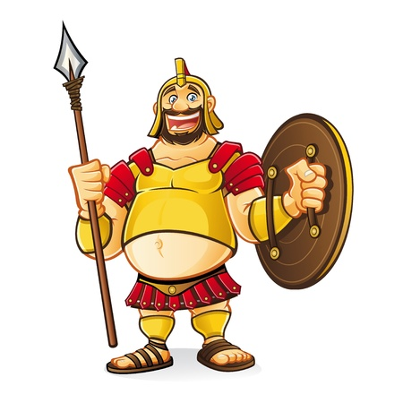 fat goliath cartoon was laughing fun while holding a spear and a shield with a visible navel
