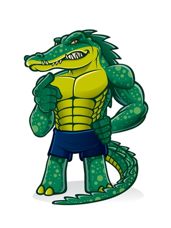 cartoon alligator that pugnacious, strong and muscular is challenging and pointed toward the audience invited to join him Çizim