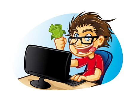 freelance: cartoons young people with glasses who are crazy about computers with a mad expression and excessive happy with pleasure gets a commission from online business Illustration