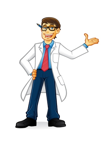 lab geek man cartoon with glasses and wearing a lab coat and hands on hips smiling invite  イラスト・ベクター素材