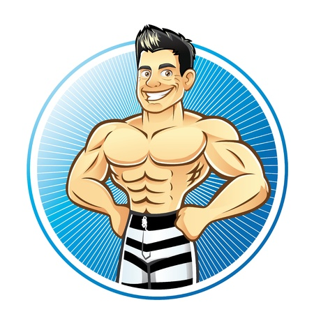 A handsome muscular man with hands on hips smiling bravely Illustration