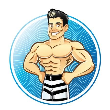 hombre fuerte: Un hombre muscular hermoso con las manos en las caderas sonriendo con valentía Vectores