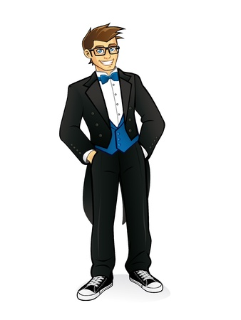 alone person: geek executives are standing casually by wearing tuxedo, bow tie and sneakers