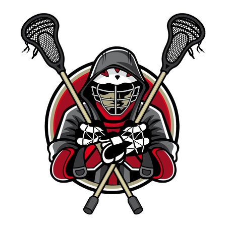Illustration of lacrosse players was crossed lacrosse sticks and hands in the chest by wearing helmets and hoods Illustration