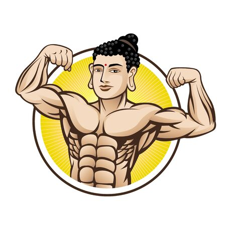 Buddha who was posing bodybuilding with the hefty muscular body Illustration