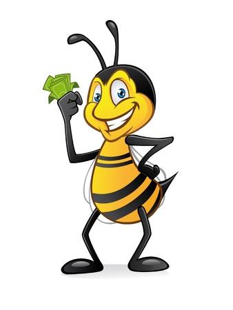 abeja caricatura: Cartoon bee sosteniendo un mont�n de dinero con una sonrisa y las manos en las caderas