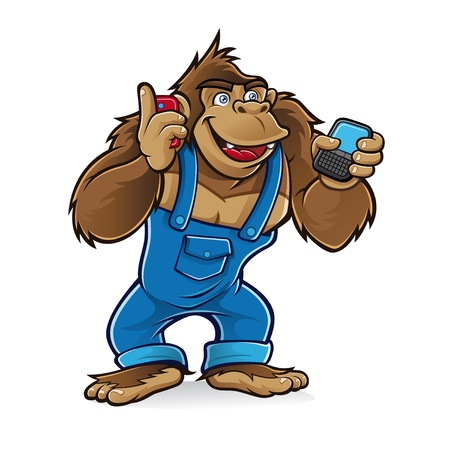 Cartoon gorilla wearing a mechanic was talking by cell phone with one hand and the other was writing a message Vector