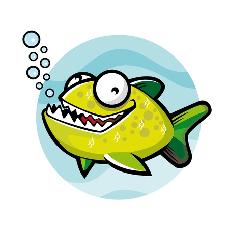 peces caricatura: Historieta verde de piraña sonreía feliz con burbujas de agua