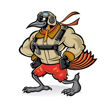 airplane cartoon: Cartoon oriole bird gallant aviator who was hands on her hips with confidence and wear uniforms and sunglasses aviator
