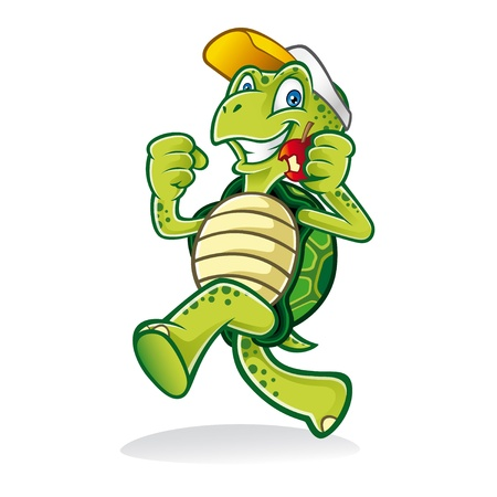 Cartoon turtle was running cheerfully while eating an apple and wearing a hat