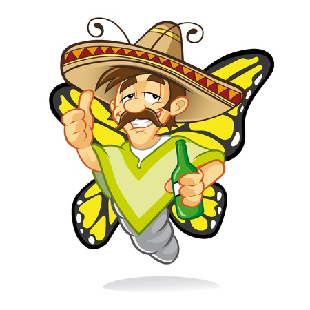 mosca caricatura: Cartoon sombrero borracho mariposa que estaba borracho y pulgar hacia arriba signo con una sonrisa y con una botella de licor