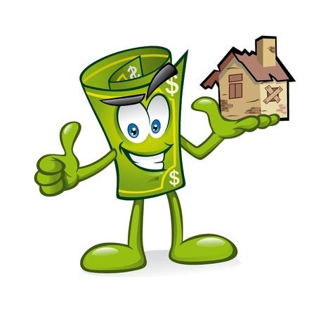 Cartoon geld wordt verhoogd huis beschadigd met een hand met een glimlach en een duim omhoog