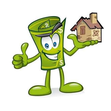 Cartoon money is being raised house damaged with one hand with a smile and a thumbs-up Vector