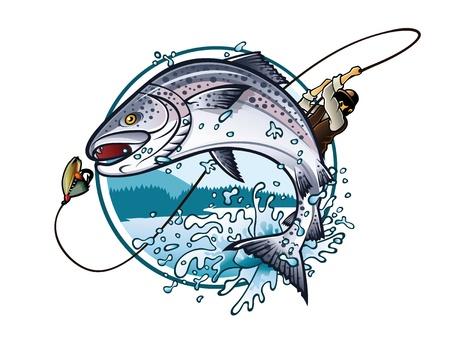 Ilustración de un pescador está tirando caña de pescar salmones saltando mientras que para coger el cebo en el lago
