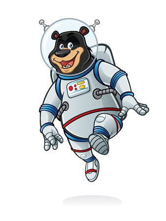 space suit: bear astronauts was jumping like walking on the moon and smiling happily Illustration