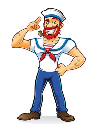 navigator: bearded sailor with a pipe in his mouth stand up and salute proudly