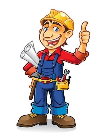 건축가: 건설 노동자 엄지 손가락과 큰 미소로 종이 작업과 도구를 들고 옆에 서