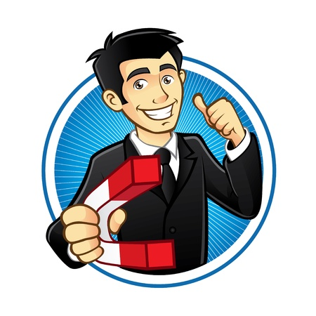 cartoon character: young executives thumbs up and carry a large magnetic