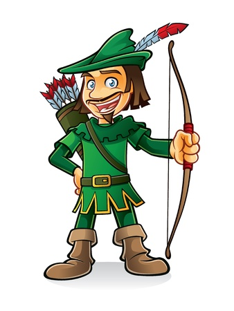 robin hood stood smiling and holding a bow Vector