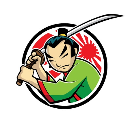 japanese samurai were swinging a samurai sword Vector