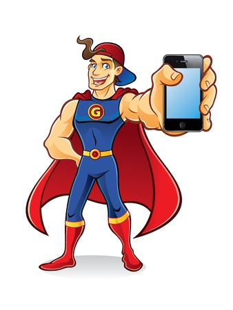 happy phone: young superhero with tuft of hair stands brandishing an phone to the audience wearing hats and cape