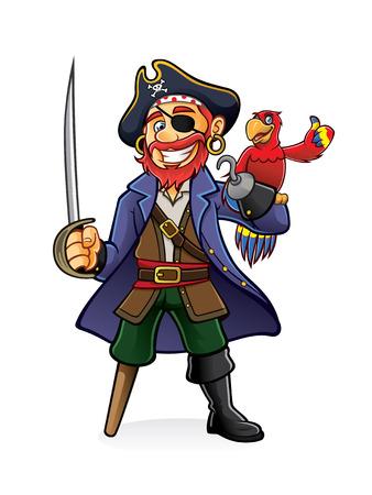 Pirate stand hält ein gezogenes Schwert mit einem Papagei auf der Hand thront