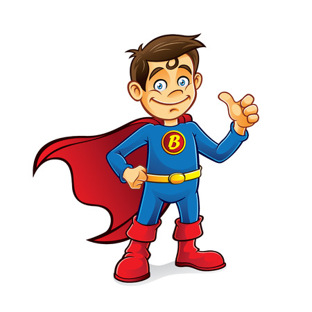 elementary age boys: Superhero boys were standing with hands on hips and thumbs-up