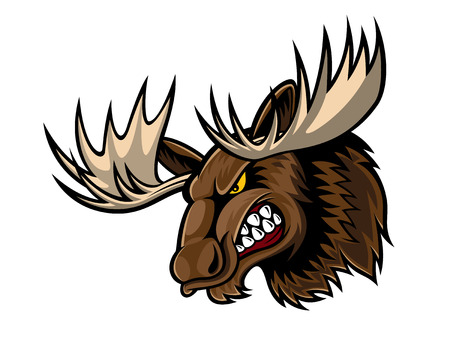 cartoon moose who was very angry, staring and grinning