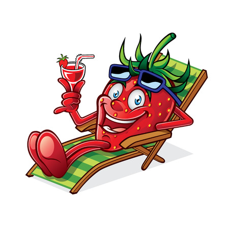 Cartoon Berry was relaxing on a beach chair, holding up glasses of drink and smiling happily