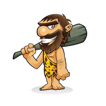 Hombre de las cavernas está de pie sosteniendo un arma desde el tronco de un árbol y sonriente Foto de archivo - 28069738