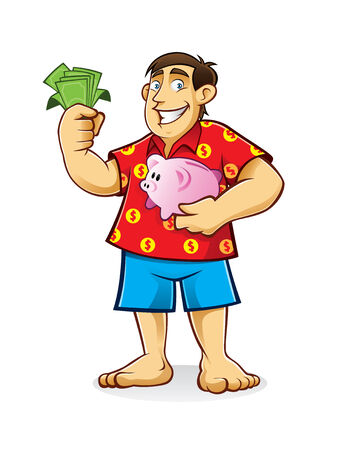 fat man is standing hugging piggy bank and holding sheets of paper money