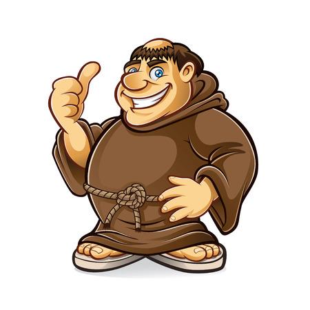 笑みを浮かべて脂肪質の修道士および親指アップ