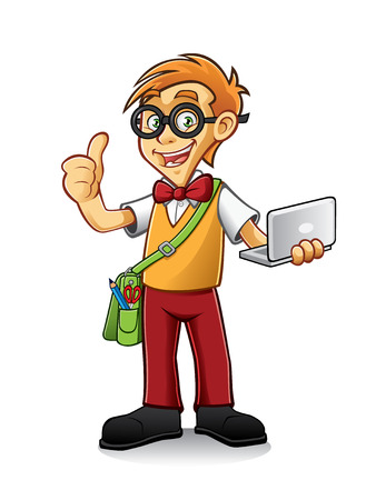 geeky boy standing holding a laptop and thumbs-up Vector