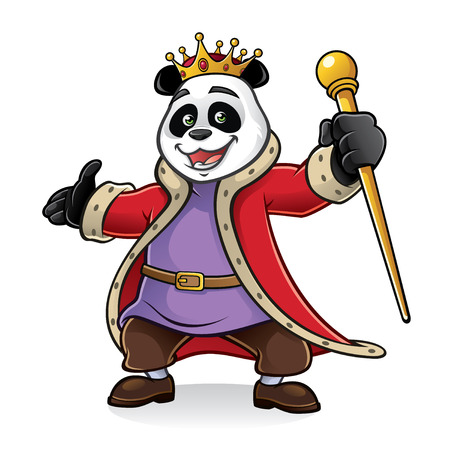 King of panda being greeted with friendly and excited