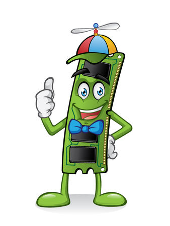 thumbsup: ram memory card cartoon is standing with a propeller hat and thumbs-up Illustration